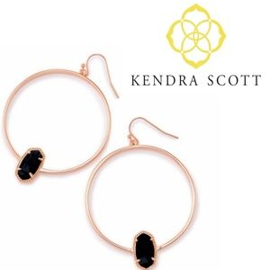 ■Kendra Scott■ Elora Rose Gold Hoops Black Glass